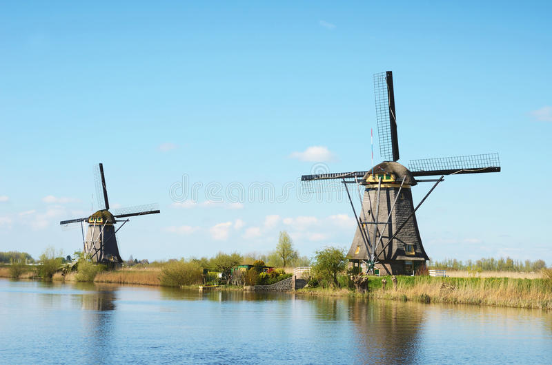 The picturesque landscape with aerial Mill on the channel in Kinderdiyk, Netherlands royalty free stock images