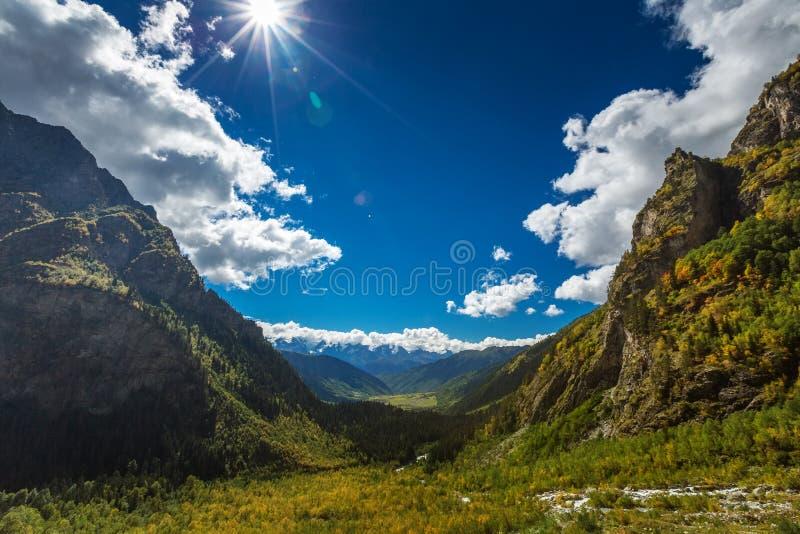 Picturesque landscape of Caucasus mountains in Georgia stock photo
