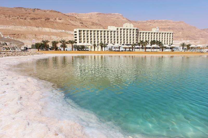 Picturesque landscape at the Dead Sea, Israel shore royalty free stock photo