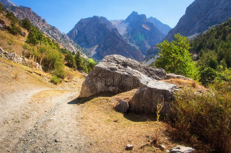 Picturesque landscape of Fann mountains in Tajikistan. Beautiful view on mountain on clear summer day stock image