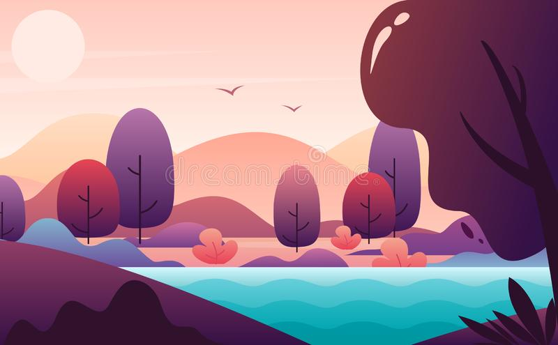 Picturesque landscape flat style vector illustration, autumn scenery backdrop. royalty free stock images