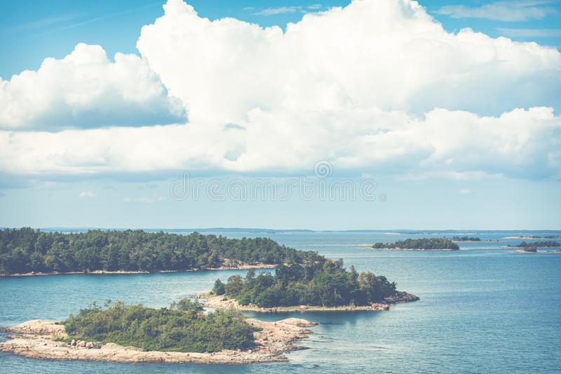 Picturesque landscape with island. at Baltic Sea. Aland Islands, Finland. Europe.  stock images