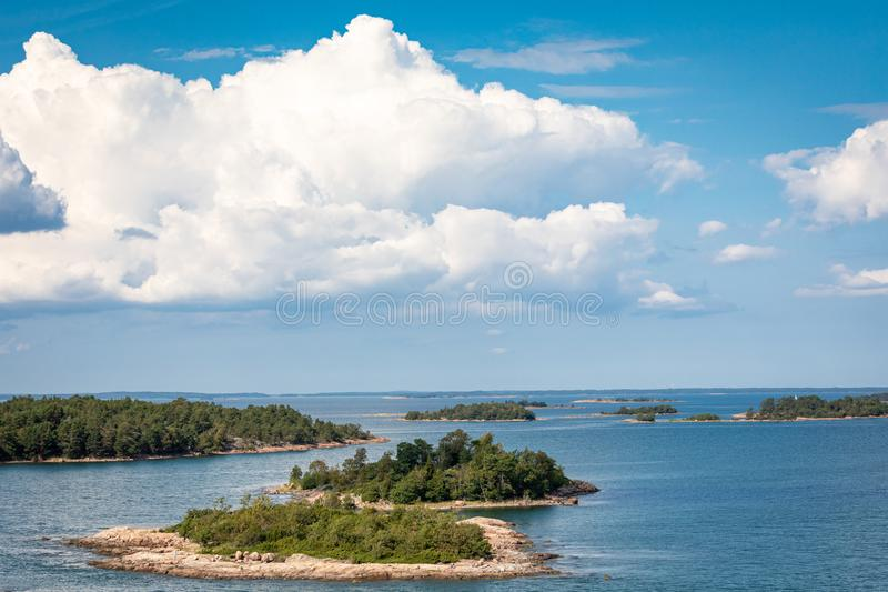Picturesque landscape with island. at Baltic Sea. Aland Islands, Finland. Europe.  stock photography