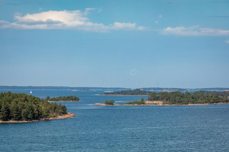 Picturesque landscape with island. at Baltic Sea. Aland Islands, Finland. Europe.  royalty free stock images
