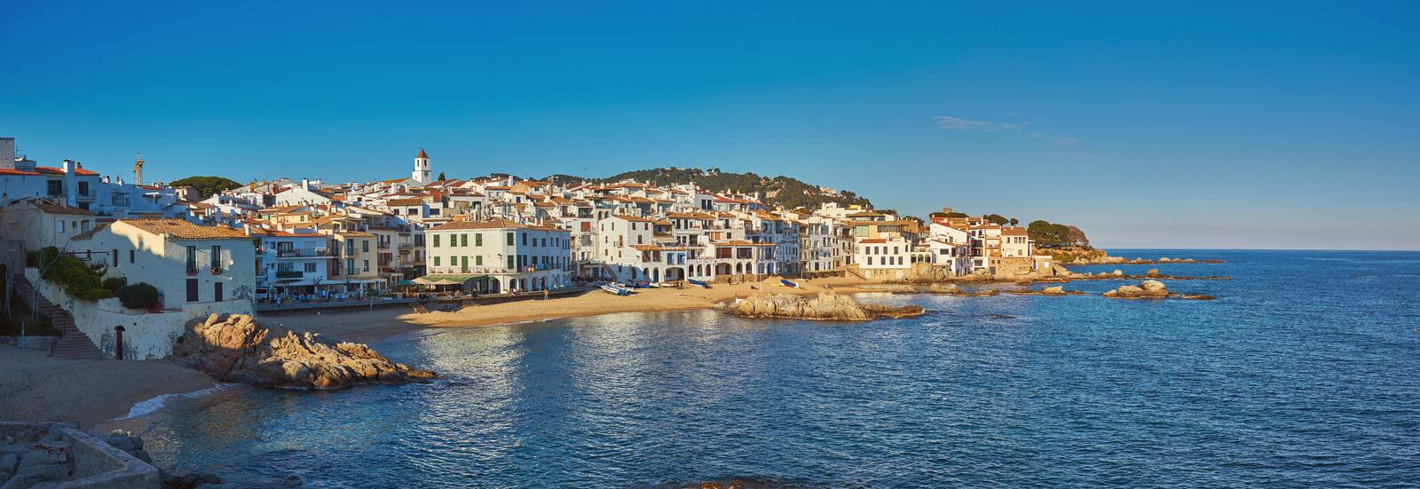 Picturesque landscape from a small Spanish village in Costa Brava coastal, Calella de Palafrugell.  royalty free stock photos