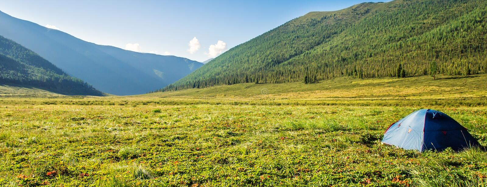 Tourist tent on mountain meadow field dawn sunrise. Picturesque landscape, tourist tent on mountain meadow field dawn sunrise backpacking against background of royalty free stock images