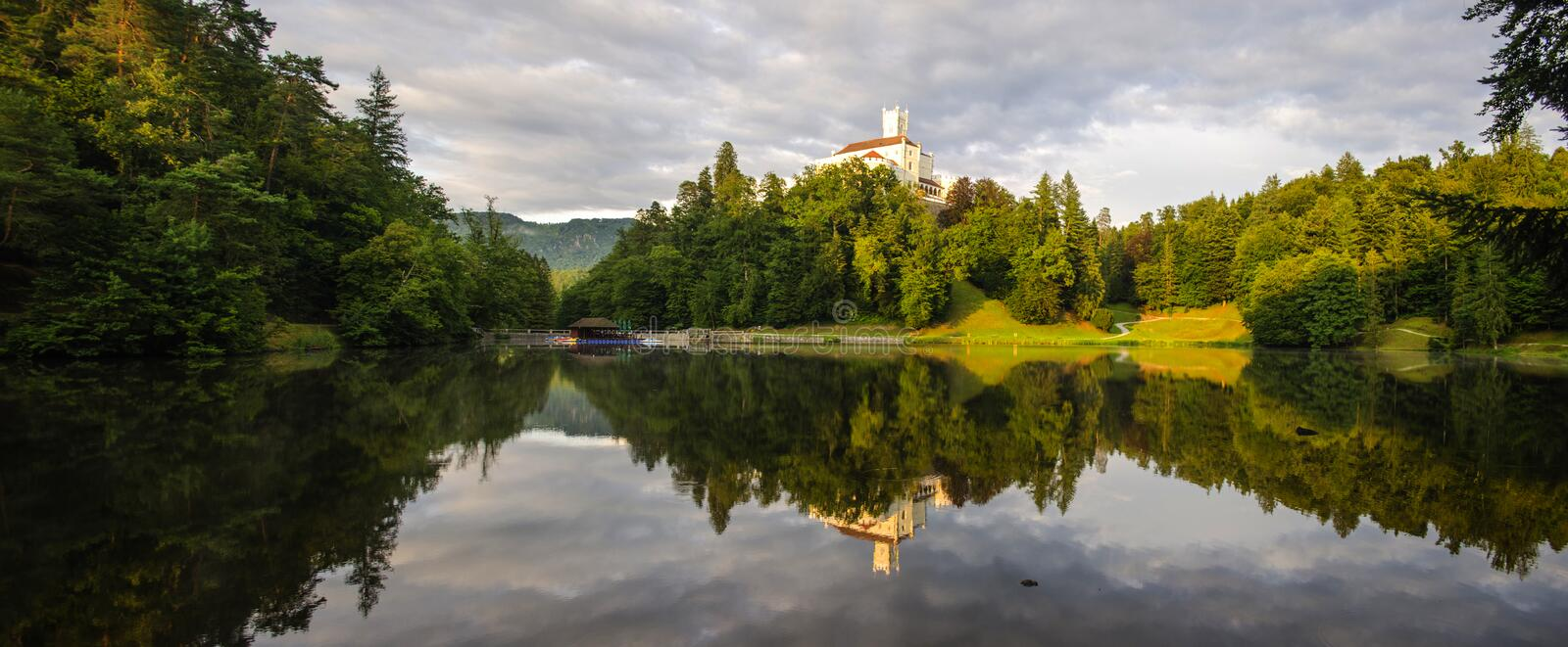 The picturesque landscape with a Trakoscan castle, Croatia. The revival of the castle of Trakoščany began in the second half of the 19th royalty free stock photos