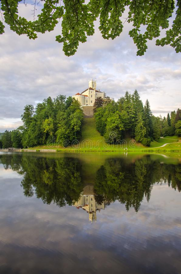 The picturesque landscape with a Trakoscan castle, Croatia. The revival of the castle of Trakoščany began in the second half of the 19th century, when royalty free stock images
