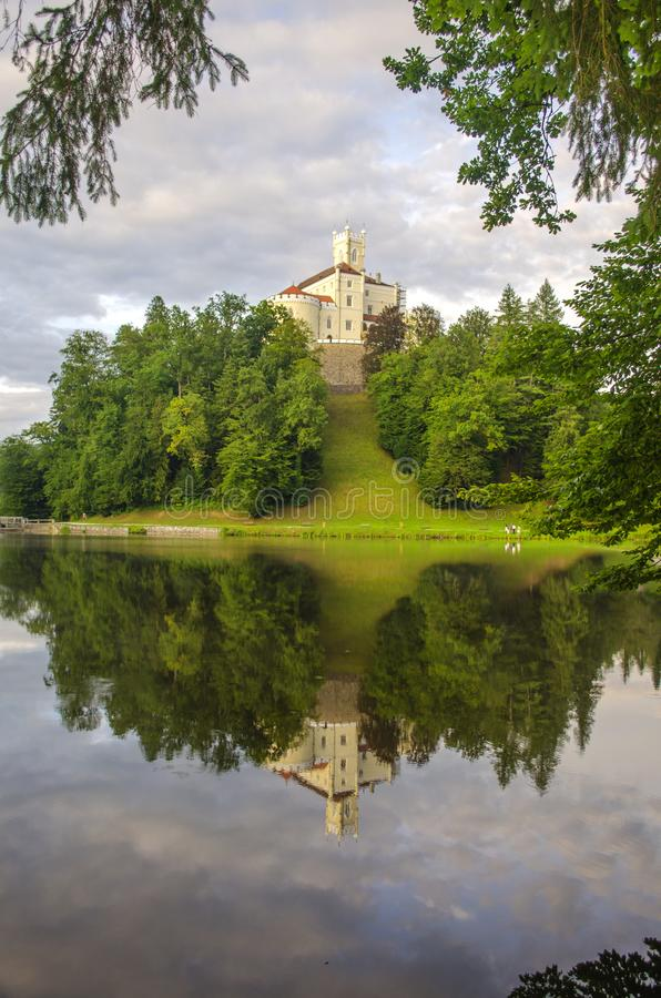 The picturesque landscape with a Trakoscan castle, Croatia. The revival of the castle of Trakoščany began in the second half of the 19th century, when stock images