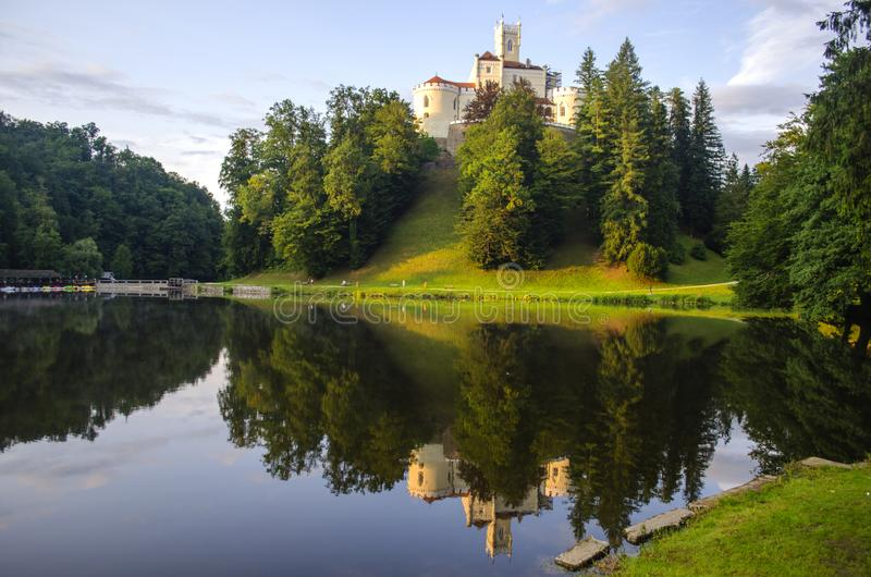 The picturesque landscape with a Trakoscan castle, Croatia. The revival of the castle of  Trakoscan began in the second half of the 19th century, when Europe royalty free stock image