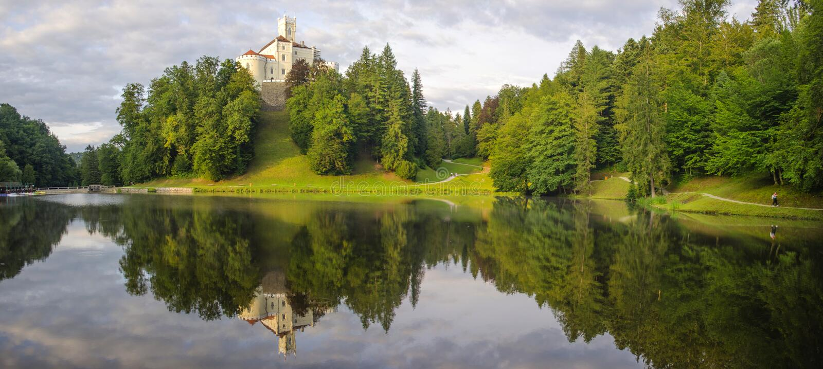 The picturesque landscape with a Trakoscan castle, Croatia. The revival of the castle of Trakoščany began in the second half of the 19th royalty free stock photography