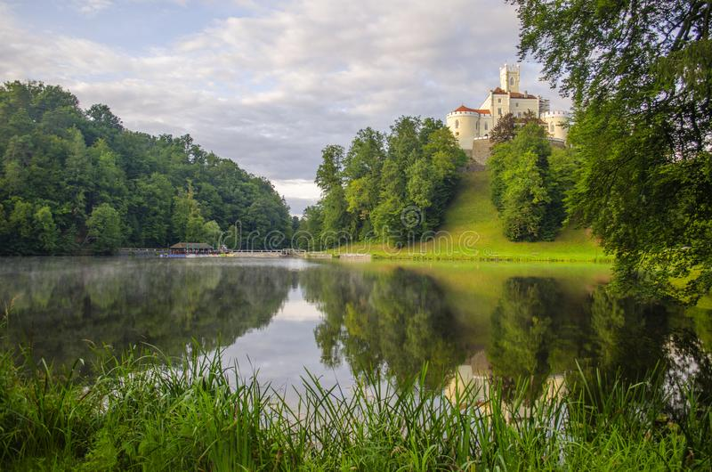 The picturesque landscape with a Trakoscan castle, Croatia. The revival of the castle of Trakoščany began in the second half of the 19th century, when royalty free stock photography