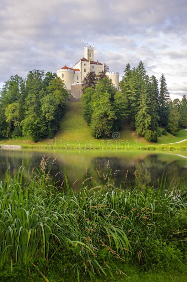 The picturesque landscape with a Trakoscan castle, Croatia. The revival of the castle of Trakoščany began in the second half of the 19th century, when royalty free stock photos