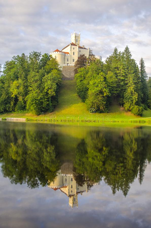The picturesque landscape with a Trakoscan castle, Croatia. The revival of the castle of Trakoščany began in the second half of the 19th century, when stock photo