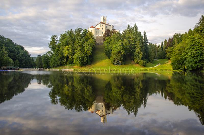 The picturesque landscape with a Trakoscan castle, Croatia. The revival of the castle of Trakoščany began in the second half of the 19th century, when stock photography