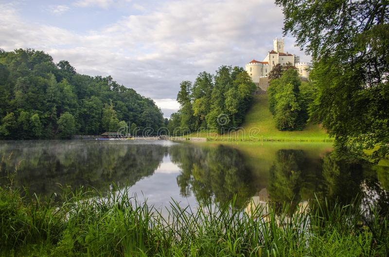 The picturesque landscape with a Trakoscan castle, Croatia. The revival of the castle of Trakoščany began in the second half of the 19th century, when royalty free stock photo