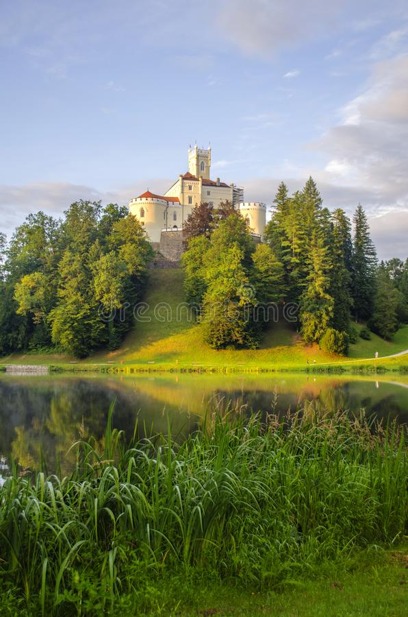 The picturesque landscape with a Trakoscan castle, Croatia. The revival of the castle of Trakoščany began in the second half of the 19th century, when royalty free stock image