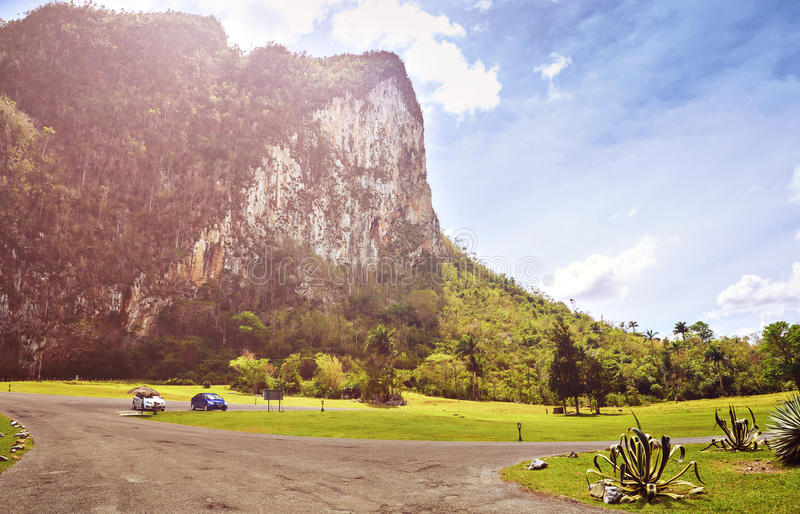 Picturesque landscape Valley Vinales village Pinar del Rio Cuba Latin America mountains field cloud royalty free stock image