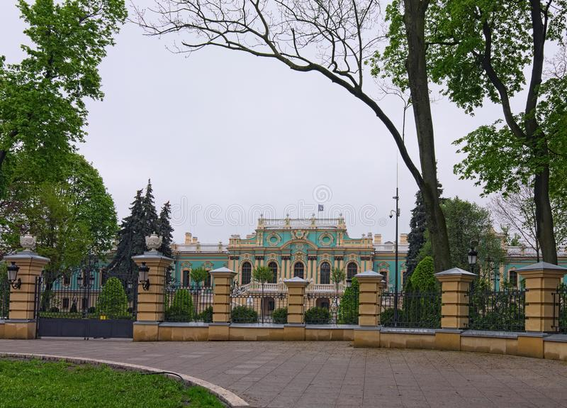 Picturesque landscape view of Mariyinsky Palace in Kyiv, Ukraine. royalty free stock photo