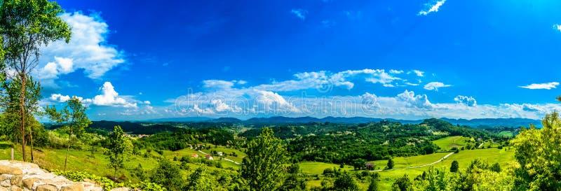 Picturesque landscape in Zagorje region, Croatia. Panorama of marble landscape in Zagorje region, picturesque view from Veliki Tabor landmark stock photos