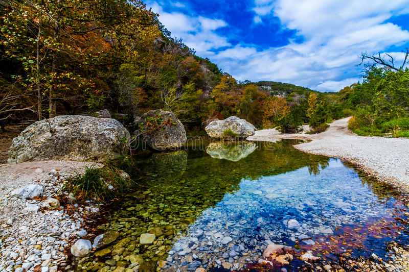 Picturesque Lost Maples Creek, TX. A Picturesque Scene with Beautiful Fall Foliage on a Tranquil Babbling Brook at Lost Maples State Park in Texas stock images