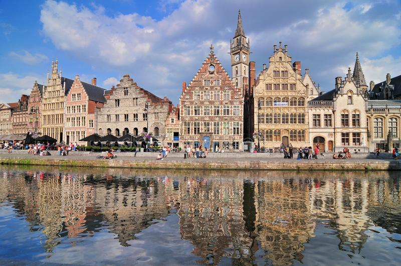 Picturesque medieval buildings overlooking the Graslei harbor on Leie river in Ghent town Belgium Europe.  stock images