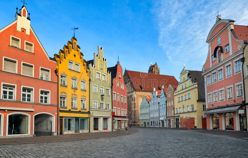 Picturesque medieval gothic houses in old bavarian town by Munich, Germany. Picturesque medieval gothic houses in old bavarian town Landshut near Munich, Germany royalty free stock photography