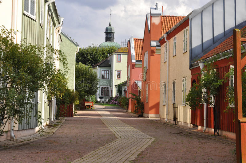 Picturesque medival town. Street in a picturesque medival town in Sweden royalty free stock photo