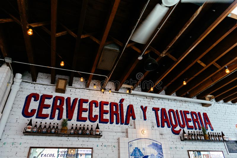 Picturesque Mexican restaurant in Greenwich Village NYC royalty free stock images
