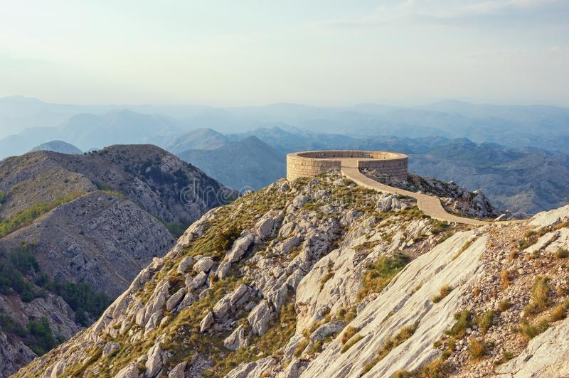 Picturesque mountain landscape with observation deck. Montenegro, Lovcen national park. Picturesque mountain landscape with observation deck. Montenegro, view of stock photos
