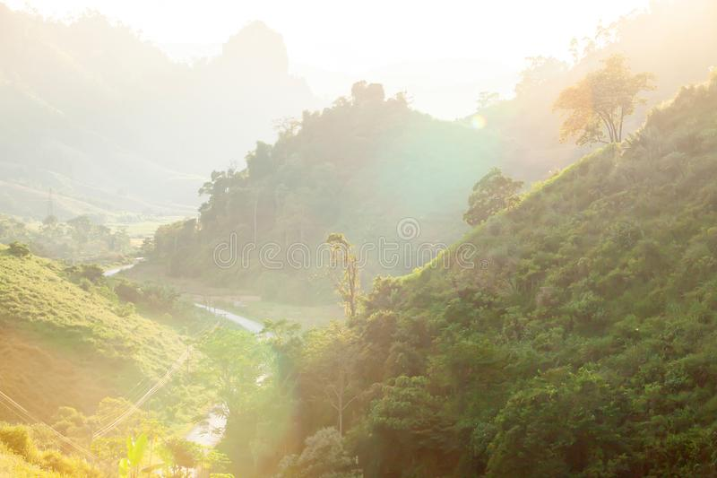 Picturesque mountains road at dusk. Luang Prabang, Laos stock images