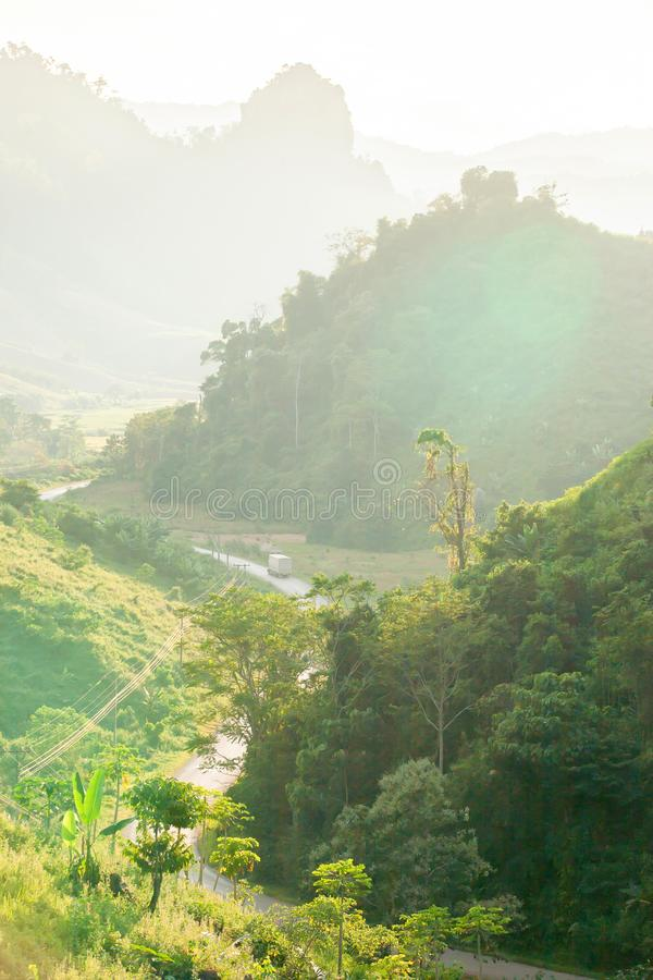 Picturesque mountains road at dusk. Luang Prabang, Laos royalty free stock images