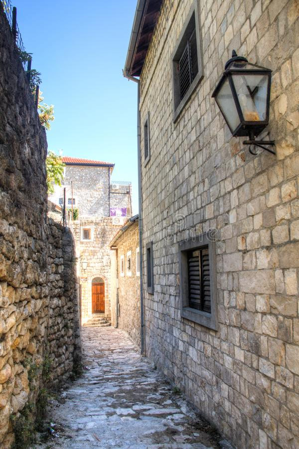 Streets of Ulcinj in Montenegro stock photos