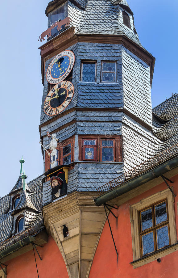 Picturesque New Town Hall in Ochsenfurt near Wuerzburg, Germany. The New Town Hall (1497) with astronomical clock and lance turrets (1505) in Ochsenfurt near stock photos