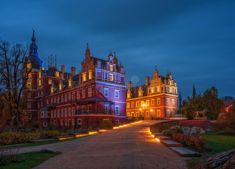 Picturesque night scape of Muskau Castle in famous Muskau Park, Saxony, Germany. UNESCO World Heritage Site royalty free stock images