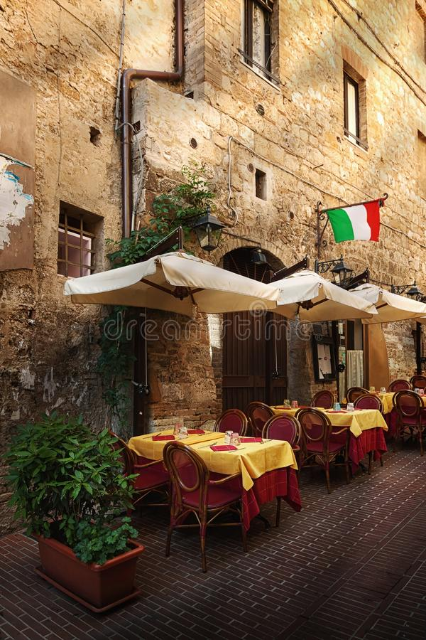 Picturesque nook of Tuscany. Siena - Picturesque nook of Tuscany - restaurant stock image