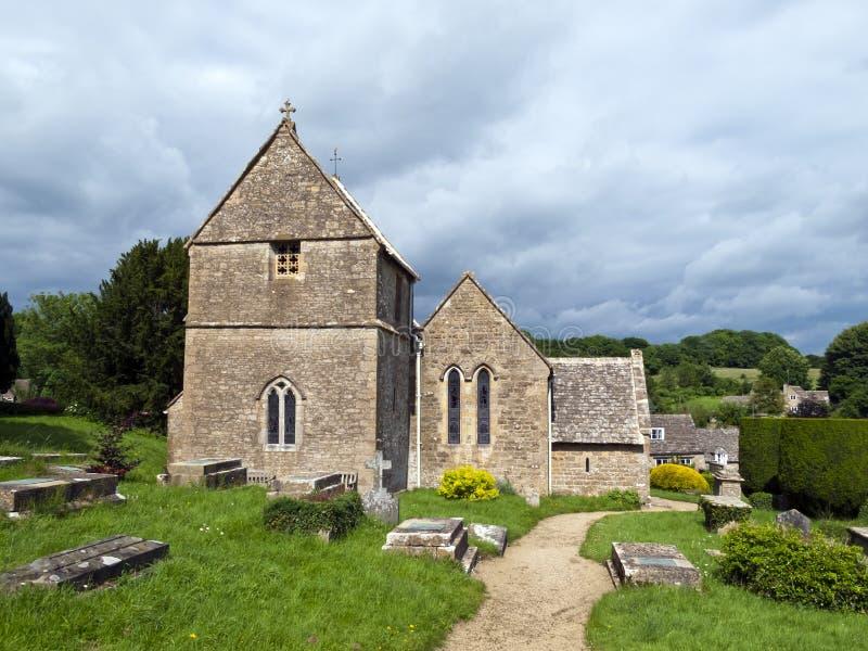 Duntisbourne Abbotts church, idyllic Cotswold village, Gloucestershire, UK stock images