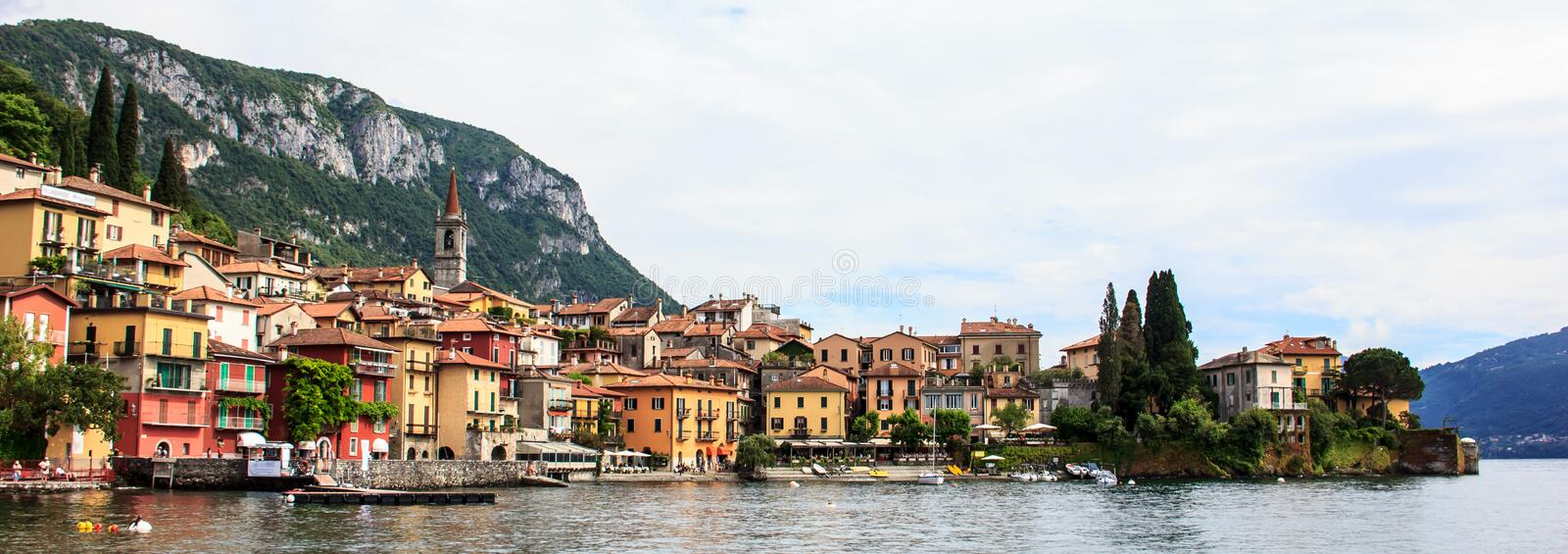 Picturesque Panorama view of beautiful Varenna Town, Lake Como, Lombardy, Italy, Europe royalty free stock image