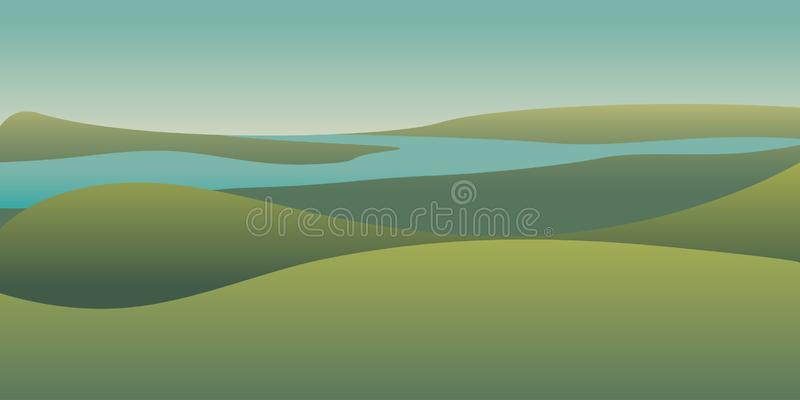 Picturesque panoramic landscape color illustration vector illustration