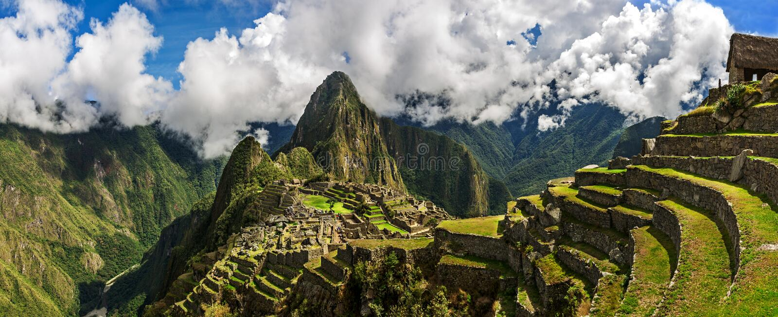 Picturesque panoramic view of terraces of Machu Picchu. Picturesque panoramic view of terraces of Machu Picchu royalty free stock images