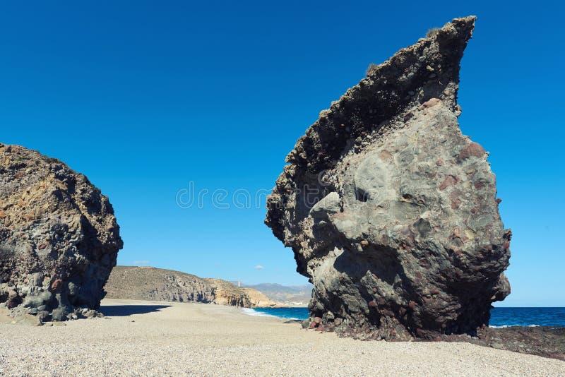 Picturesque Playa de Los Muertos. Spain. Picturesque Playa de Los Muertos or Beach of the Dead in Cabo de Gata-Nijar Natural Park. Carboneras. Province of royalty free stock photo