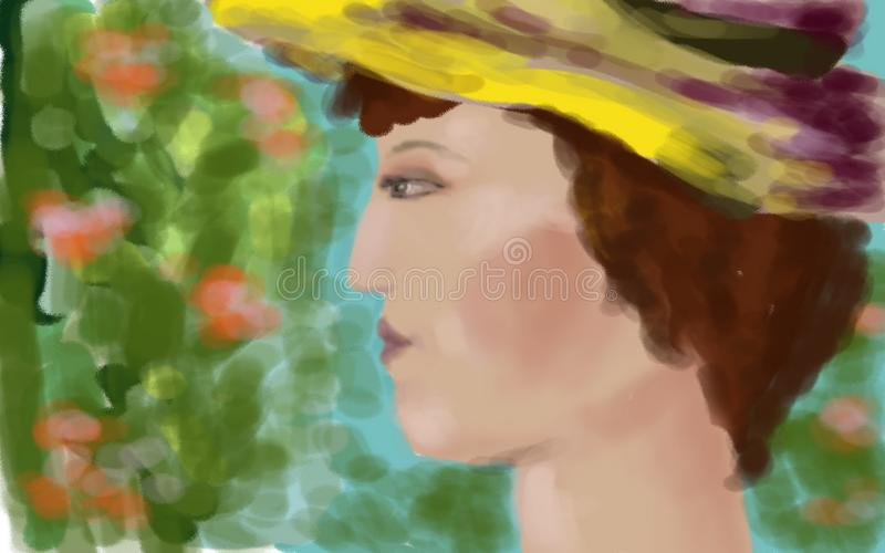 Portrait of a lady in a hat. royalty free stock photo