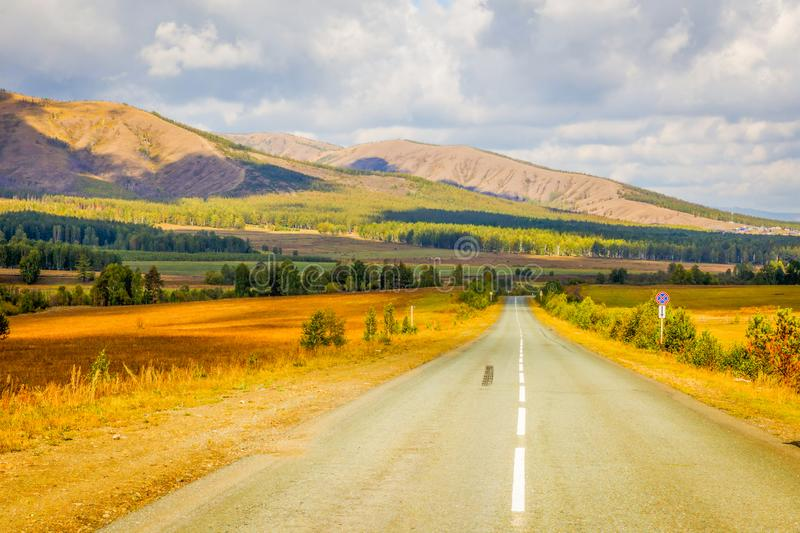 A picturesque road in the Ural mountains. Bashkortostan. Southern Urals royalty free stock photos