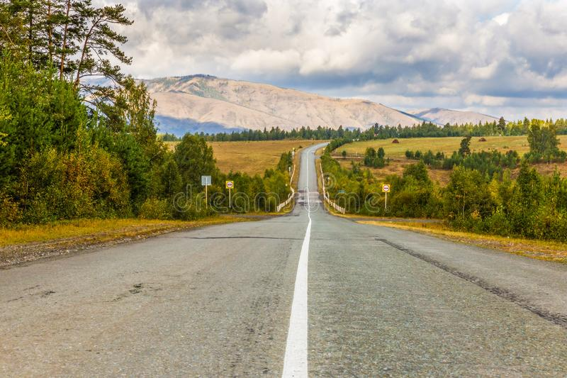 A picturesque road in the Ural mountains. Bashkortostan. Southern Urals stock photo