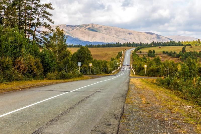 A picturesque road in the Ural mountains. Bashkortostan. Southern Urals stock photos
