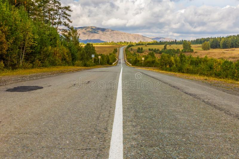 A picturesque road in the Ural mountains. Bashkortostan. Southern Urals royalty free stock images