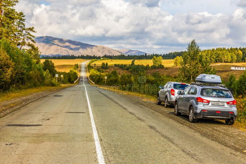 A picturesque road in the Ural Mountains. Russia, Bashkortostan, September 2016: A picturesque road in the Ural Mountains. Bashkortostan royalty free stock image