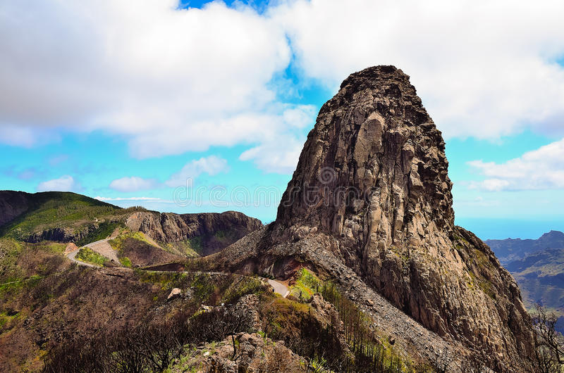 Picturesque rock Roque de Agando. On the island of La Gomera, Canary Islands, Spain royalty free stock photography