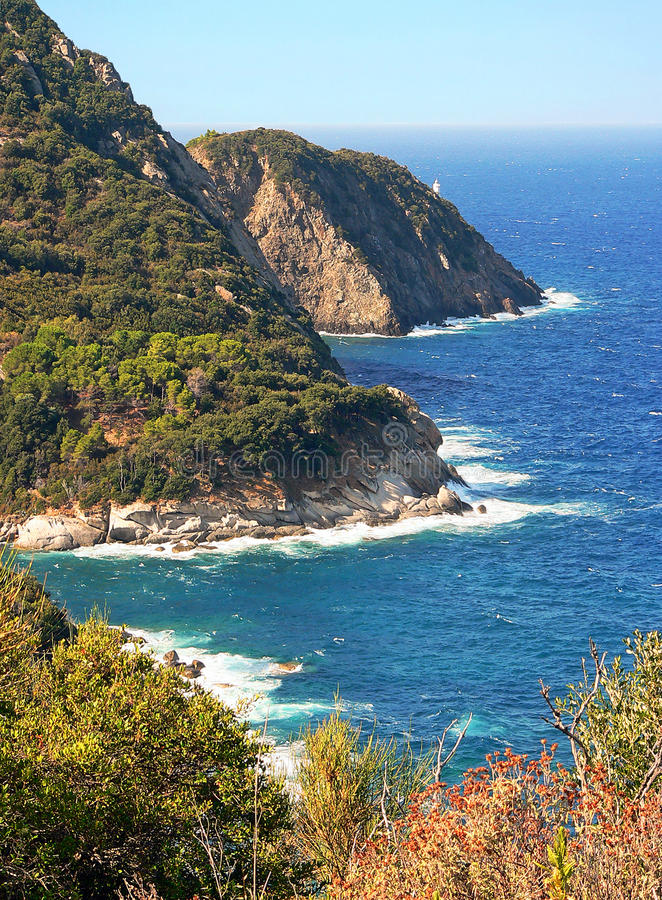 Picturesque rocky coast of elba island, italy. Picturesque rocky coast of elba island, natural italian landscape stock image