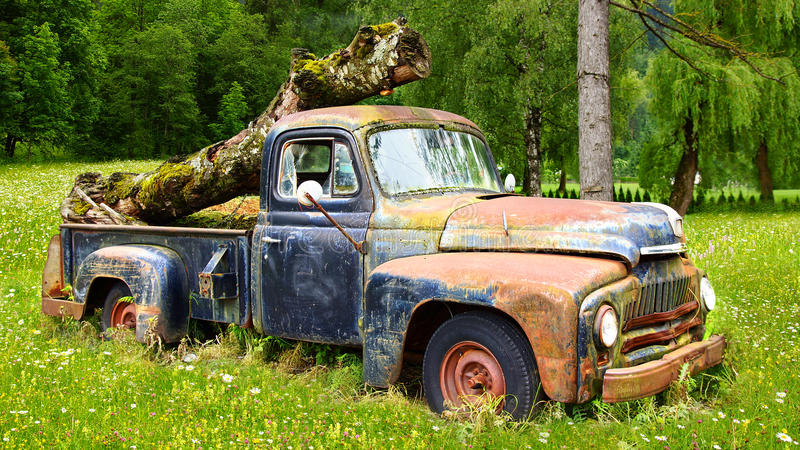 Picturesque Rural  Landscape With Old Car. Stock Photos